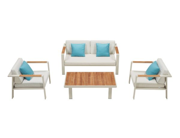 Outdoor Lounge Set weis Teakholz